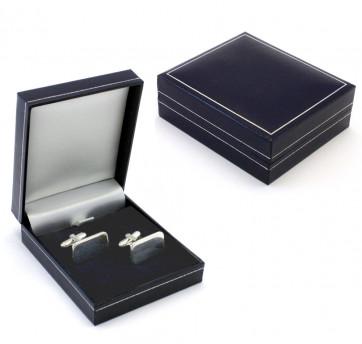 Coffret cadeau luxueux pour boutons de manchette, bleu