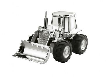 Tirelire Tracteur 14x8x9cm couleur argent