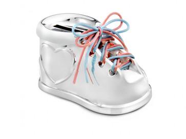 Tirelire Chaussure 2 lacets couleur argent