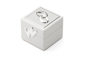 Boîte à bagues de mariage embleme arg./laq.