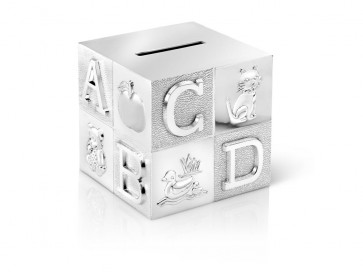 Tirelire Cube, grand, ABC 7,5x7,5x7,5cm arg./laq.
