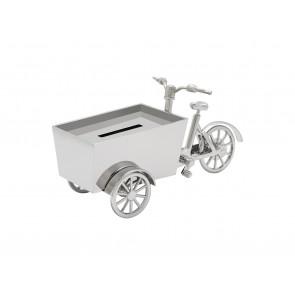 Tirelire Vélo cargo couleur argent