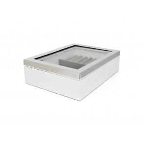 Boîte à bijoux avec fenêtre et bordure couleur argent