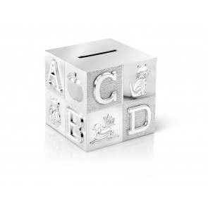 Tirelire Cube, grand, ABC 7,5x7,5x7,5cm arg./laq.